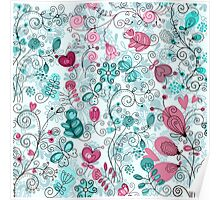 doodle flowers and butterflies Poster