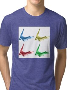 Four Coloured Crocodiles Tri-blend T-Shirt