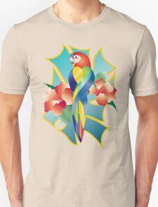 Pretty Rainbow Parrot Tropical Orange Hibiscus Flowers Unisex T-Shirt