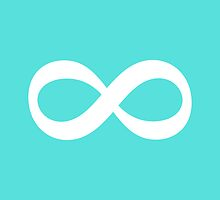 Infinity eternity forever symbol, white and aqua blue by Mhea