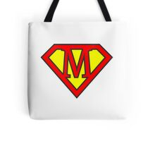 M letter in Superman style Tote Bag