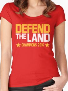 "Cleveland Cavaliers Champions 2016 ""DEFEND THE LAND"" KING JAMES LEBORN Women's Fitted Scoop T-Shirt"