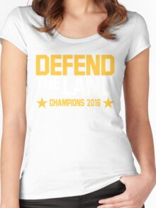 """Cleveland Cavaliers Champions 2016 """"DEFEND THE LAND"""" KING JAMES LEBORN Women's Fitted Scoop T-Shirt"""