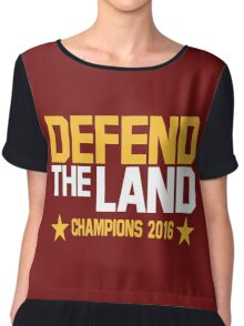 """Cleveland Cavaliers Champions 2016 """"DEFEND THE LAND"""" KING JAMES LEBORN Chiffon Top"""