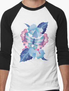 Pretty Purple Turquoise Butterfly Blue Winter Hibiscus Flowers Men's Baseball ¾ T-Shirt