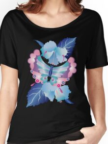 Pretty Purple Turquoise Butterfly Blue Winter Hibiscus Flowers Women's Relaxed Fit T-Shirt