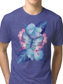 Pretty Purple Turquoise Butterfly Blue Winter Hibiscus Flowers Tri-blend T-Shirt