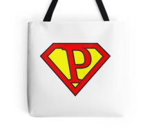 P letter in Superman style Tote Bag