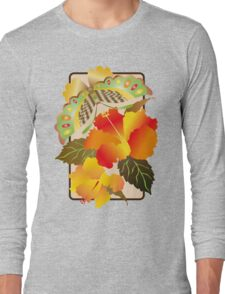 Pretty Green Autumn Butterfly Orange Hibiscus Flowers Long Sleeve T-Shirt