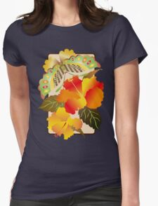 Pretty Green Autumn Butterfly Orange Hibiscus Flowers Womens Fitted T-Shirt