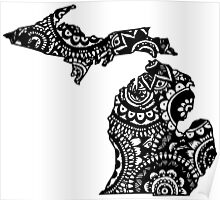Michigan Outline Doodle Poster