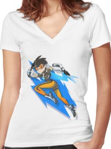 Sexy Shooter Girl Women's Fitted V-Neck T-Shirt