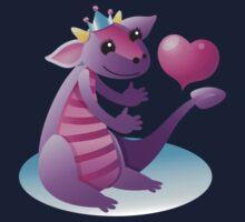 Dragon with a love heart Kids Tee