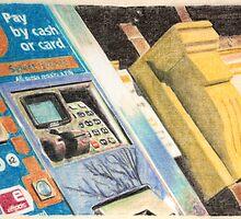Ticket machine and corbel by Peter Brandt