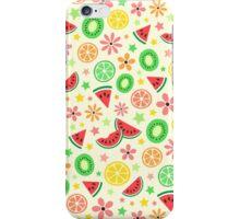 Fresh summer fruit and flower pattern - melon, kiwi, lime, orange iPhone Case/Skin