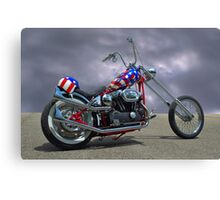 Patriotic Custom Harley Davidson Motorcycle Canvas Print