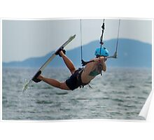 Close-up of female kite surfer getting air Poster