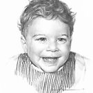 Curly-haired baby boy drawing by Mike Theuer