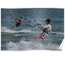 Two kite surfers with lots of spray Poster