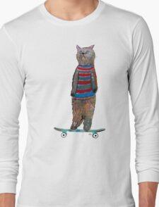 the cat skate  Long Sleeve T-Shirt