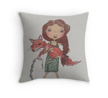 Me and mine fox child with treats! Throw Pillow