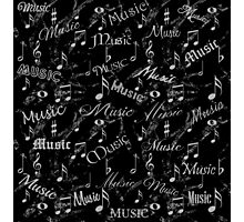 Black & Grey Music Notes Photographic Print