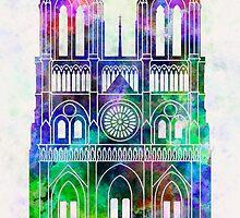 Paris Landmark Notre Dame in watercolor by paulrommer