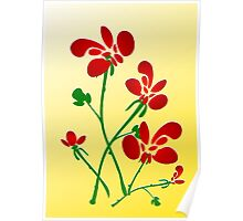 Rooster Flowers Poster