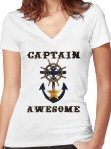 Captain Awesome - Sailor Nautical Fishing Women's Fitted V-Neck T-Shirt