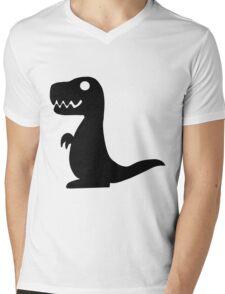 Dino Black Mens V-Neck T-Shirt