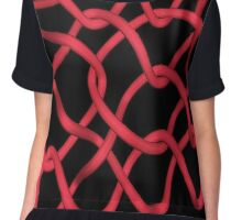Tangled Red Wire on Black Chiffon Top