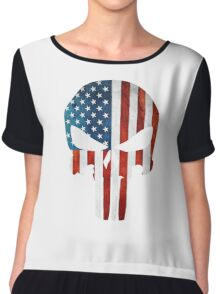 The Punisher American Flag Grunge Chiffon Top