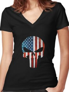The Punisher American Flag Grunge Women's Fitted V-Neck T-Shirt