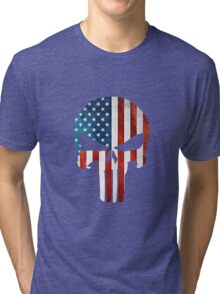 The Punisher American Flag Grunge Tri-blend T-Shirt