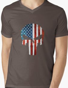 The Punisher American Flag Grunge Mens V-Neck T-Shirt