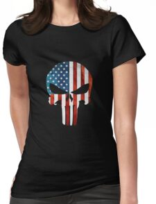 The Punisher American Flag Grunge Womens Fitted T-Shirt