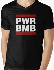 PWR BMB WHITE Mens V-Neck T-Shirt