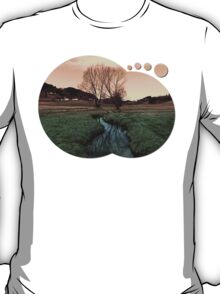 A stream, dry grass, reflections and trees II   waterscape photography T-Shirt