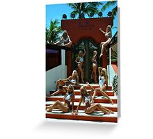 Blonde models only posing for White Tank Project - Vertical Greeting Card