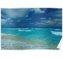 Tropical ocean view in the middle of sunny day in Cancun Mexico Poster