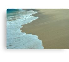 Tropical ocean and beach sand view in the middle of sunny day Canvas Print