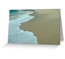 Tropical ocean and beach sand view in the middle of sunny day Greeting Card