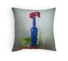 Blue glass bottle with vegetables and flowers Throw Pillow