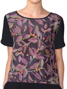 Leaves + Berries in Olive, Plum & Burnt Orange Chiffon Top