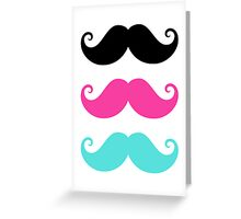 Mustache! Black, hot pink and aqua blue Greeting Card