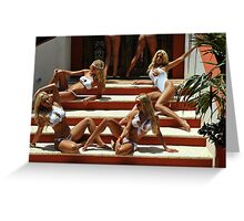 Blonde models only posing for White Tank Project - stairs Greeting Card