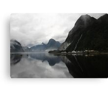 Morning reflections - Milford Sound Canvas Print