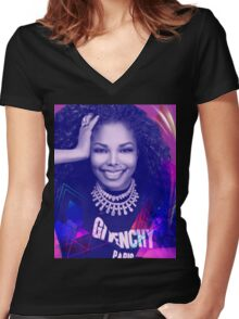 Beautiful Janet  Women's Fitted V-Neck T-Shirt