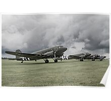 Sky Trains at Duxford Poster