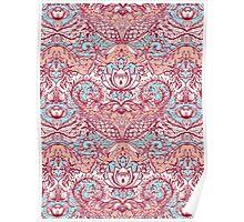 Natural Rhythm - a hand drawn pattern in peach, mint & aqua Poster
